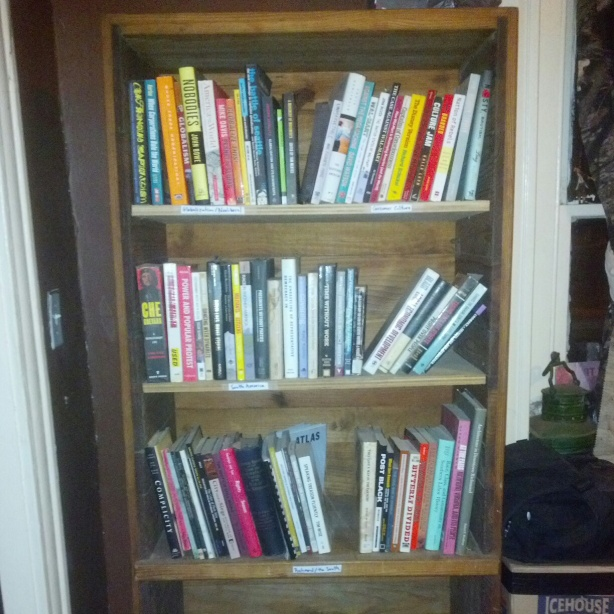 re-arranged book shelves