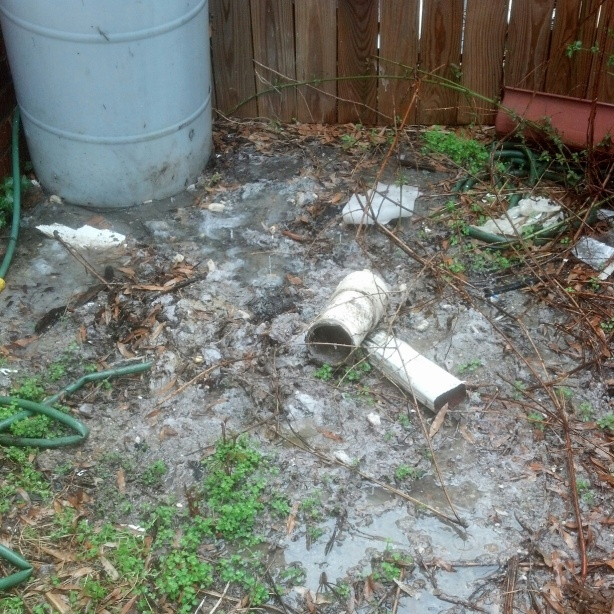 Broken clean out pipe and raw sewage in our yard